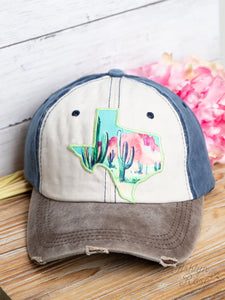 Watercolor Cactus Texas Patch on Brown, Beige and Navy Distressed Hat