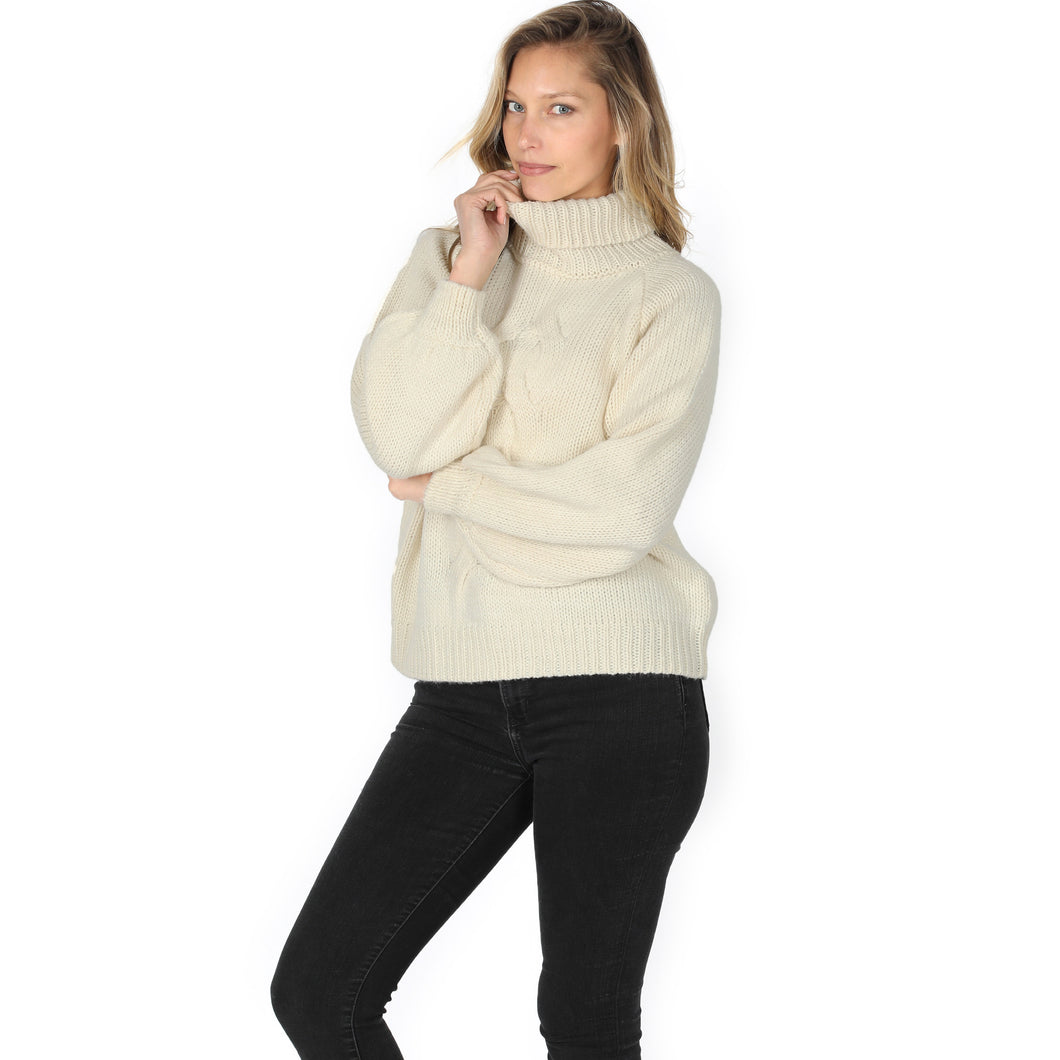 Ivory Braided Front Turtleneck Sweater