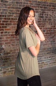 Olive Caged Curved Hem Tunic Top