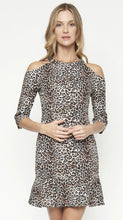 Load image into Gallery viewer, Cheetah Print 3/4 Sleeve Open Shoulder Dress
