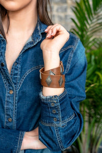 Brown Leather Wrap Bracelet W/ Triangle Pendants