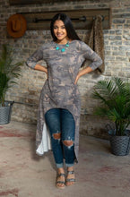 Load image into Gallery viewer, VINTAGE CAMO SCOOP NECK HIGH LOW TUNIC