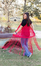 Load image into Gallery viewer, LA AZTECA FRINGE DUSTER ** RED