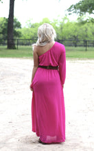 Load image into Gallery viewer, Fuscia One Shoulder Dress