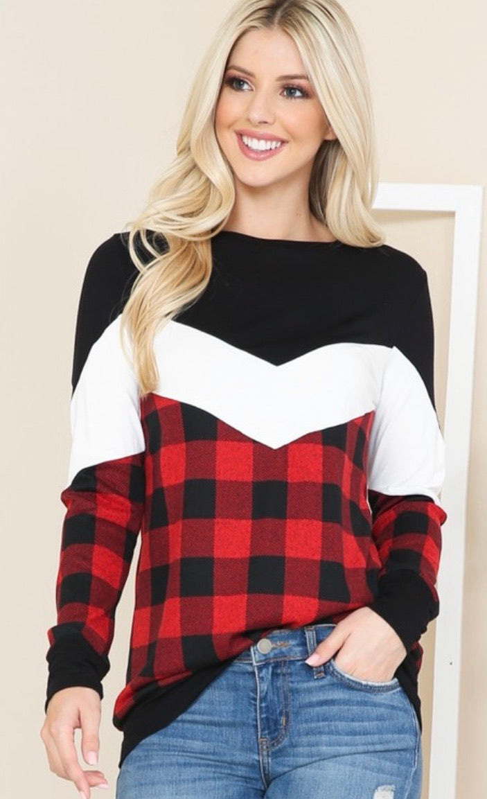 Buffalo Plaid Color Block Tunic