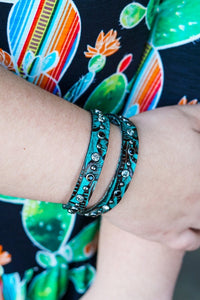 Turquiose Tooled Leather Wrap Bracelet