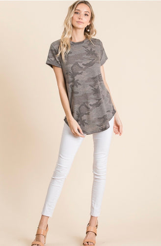 CAMOUFLAGE PRINT KNIT TOP