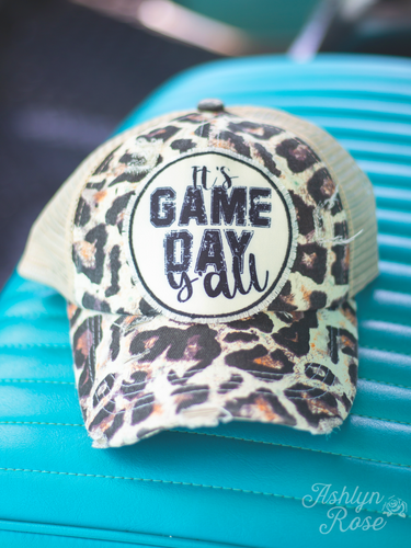 It's Game Day Y'all Patch on Beige on Leopard Hat with Beige Mesh and Criss-Cross Back