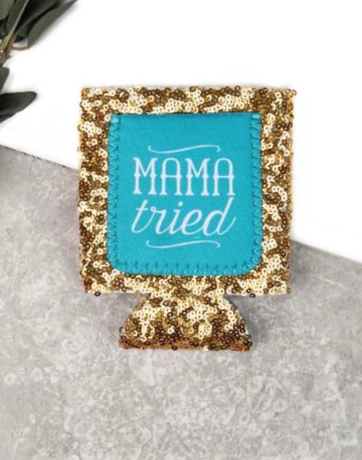 Peachy Keen Mama Tried Gold Sequin Can Cooler
