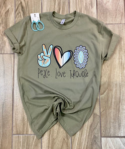 Peace, Love, & Turquiose Screen Print Tee