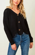 Load image into Gallery viewer, Long Black Crop Sweater With Buttons