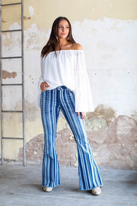 Mid Rise Striped Flare Denim Jeans With Unfinished Hem