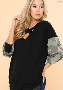 Chest Cross Detail Tunic W/ Army Contrast Sleeves