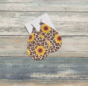 Leopard Sunflower Leaflet Shape Earrings (Locally Handmade)
