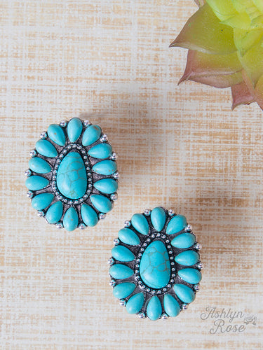 Keep Blooming Squash Blossom Stud Earrings, Turquoise