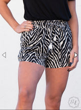 Load image into Gallery viewer, Running Free Zebra-Print Shorts with White Tassels