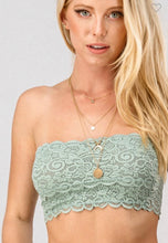 Load image into Gallery viewer, Mint Floral Lace Bandeau Top