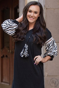 Let's Talk About It Black V-Neck Dress With Zebra Balloon Sleeves