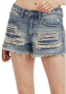 Distressed Denim Frayed Shorts - Dark Wash