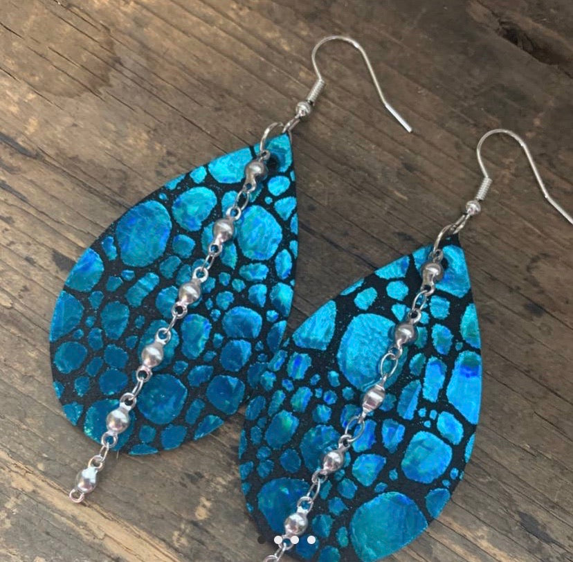 Teal Holographic Leather Earrings with Silver Chain