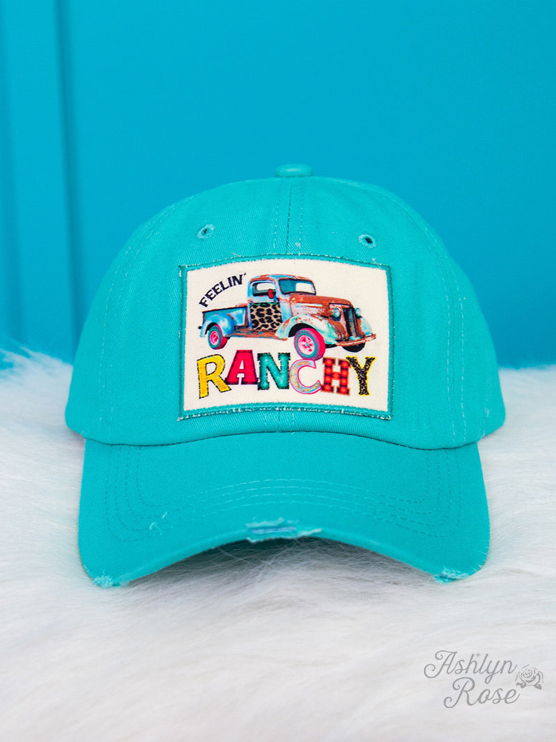 Feelin' Ranchy Patch On Distressed Turquoise Hat