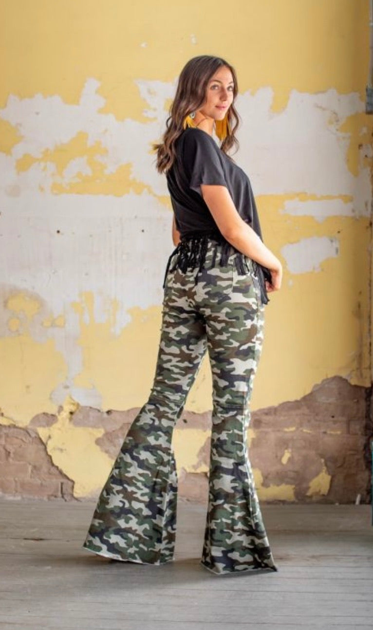 Light Vintage Camo Denim Stretch Flare Jeans