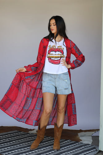 Red Bandanna Long Sleeve 3 Tiered Kimono