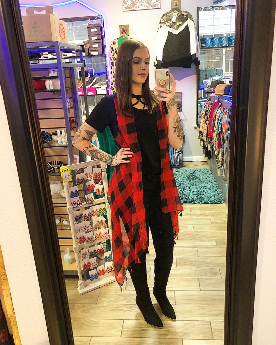 Buffalo Plaid Cover Up with Tassels