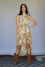 Load image into Gallery viewer, Mustard Python Halter High Low Ruffle Dress