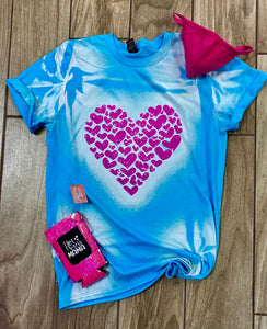 Hot Pink Heart Screen Print Graphic Tee