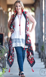Rose To The Occasion Silky Cover Up With Red Tassels