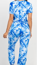 Load image into Gallery viewer, Blue Tie Dye Crop Top & Jogger Pant Set