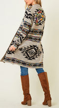 Load image into Gallery viewer, Long Sleeve Open Cardigan With Aztec Rainbow Pattern