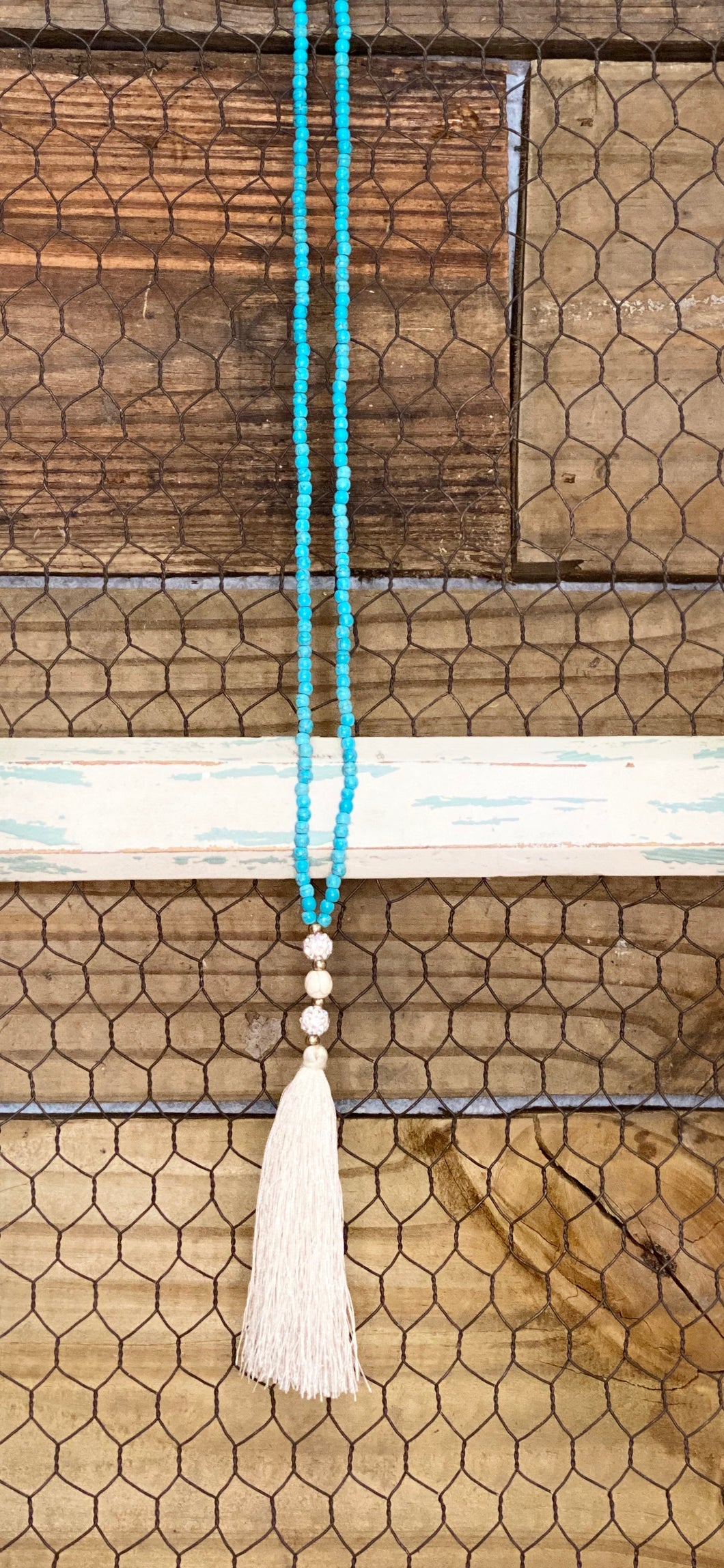 Turquoise White Tassel Beaded Necklace
