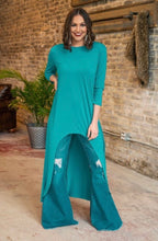 Load image into Gallery viewer, Western Jade Scoop Neck High Low Tunic