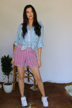 Load image into Gallery viewer, Neon Stripes Floral Chiffon Shorts