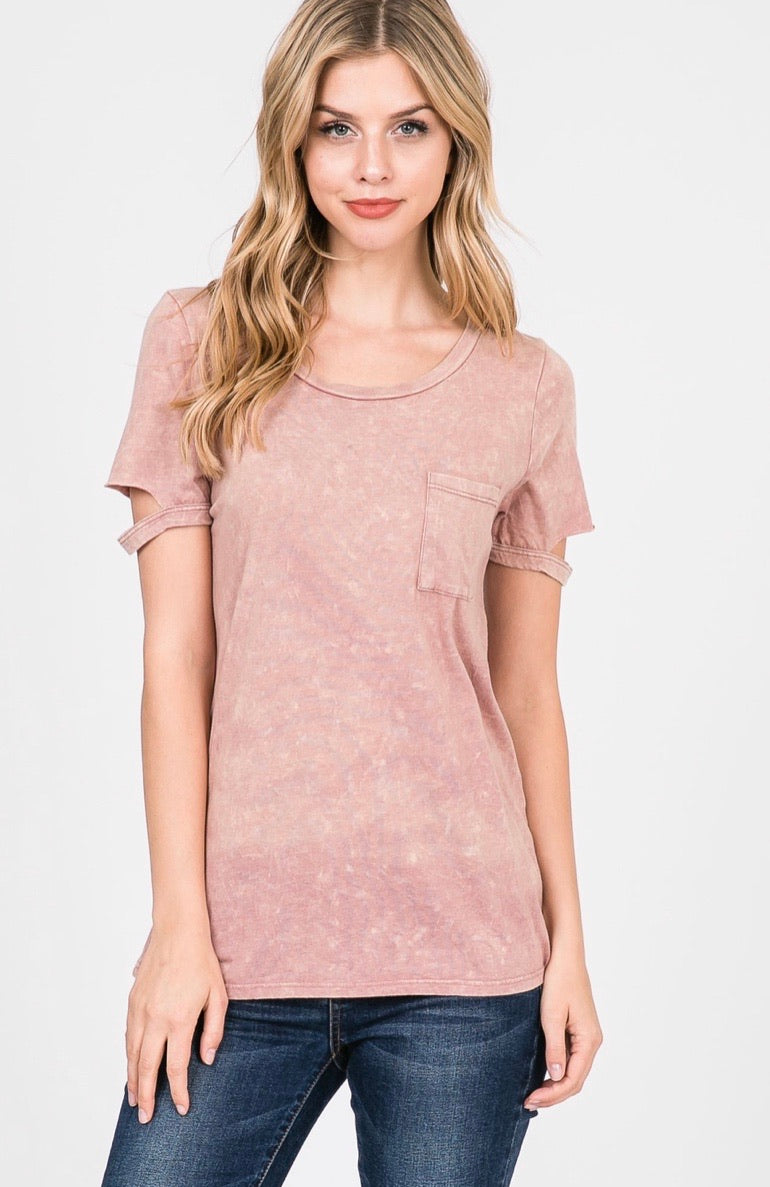 Mineral Washed Front Pocket Top In Pink