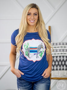 Can't Be Tamed Burro Patch On Royal Blue Short Sleeve
