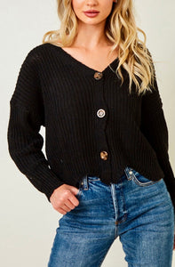 Long Black Crop Sweater With Buttons