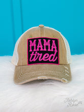 Load image into Gallery viewer, Mama Tired Patch on Tan Distressed Hat with Ivory Mesh