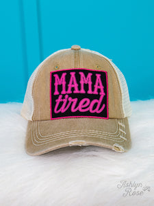 Mama Tired Patch on Tan Distressed Hat with Ivory Mesh