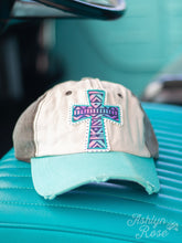 Load image into Gallery viewer, Pastel Ombre Aztec Cross Patch on, Brown & Turquoise Distressed Hat