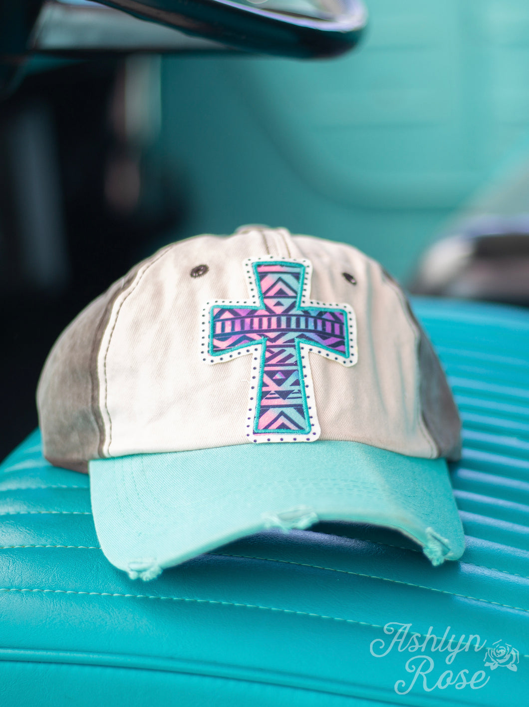 Pastel Ombre Aztec Cross Patch on, Brown & Turquoise Distressed Hat