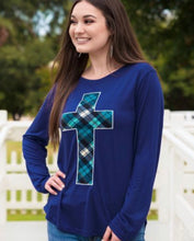Load image into Gallery viewer, Embroidered Plaid Cross Patch on Cobalt Longsleeve Tee