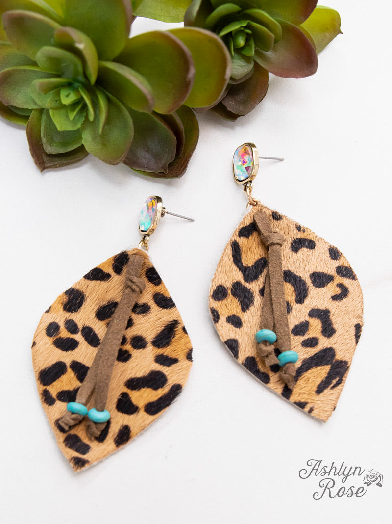 'Glitter In the Wild' Leopard Leaf Earrings, Classic Leopard