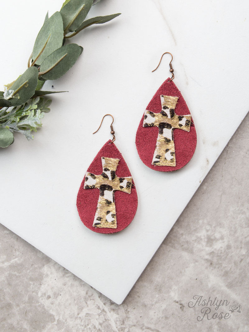 Leather Teardrop With Leopard Cross Earrings, Maroon