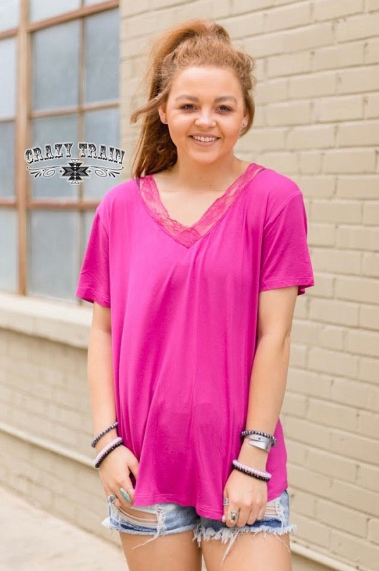 Magenta Very Fave V-Neck Top