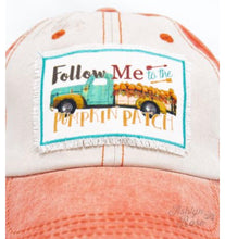 Load image into Gallery viewer, Follow Me to the Pumpkin Patch on Distressed Orange and Cream Hat