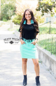 THE LAW MAKER SKIRT IN TURQUOISE