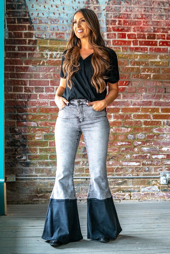 Grey Acid Wash / Black High Waisted Flare Jeans